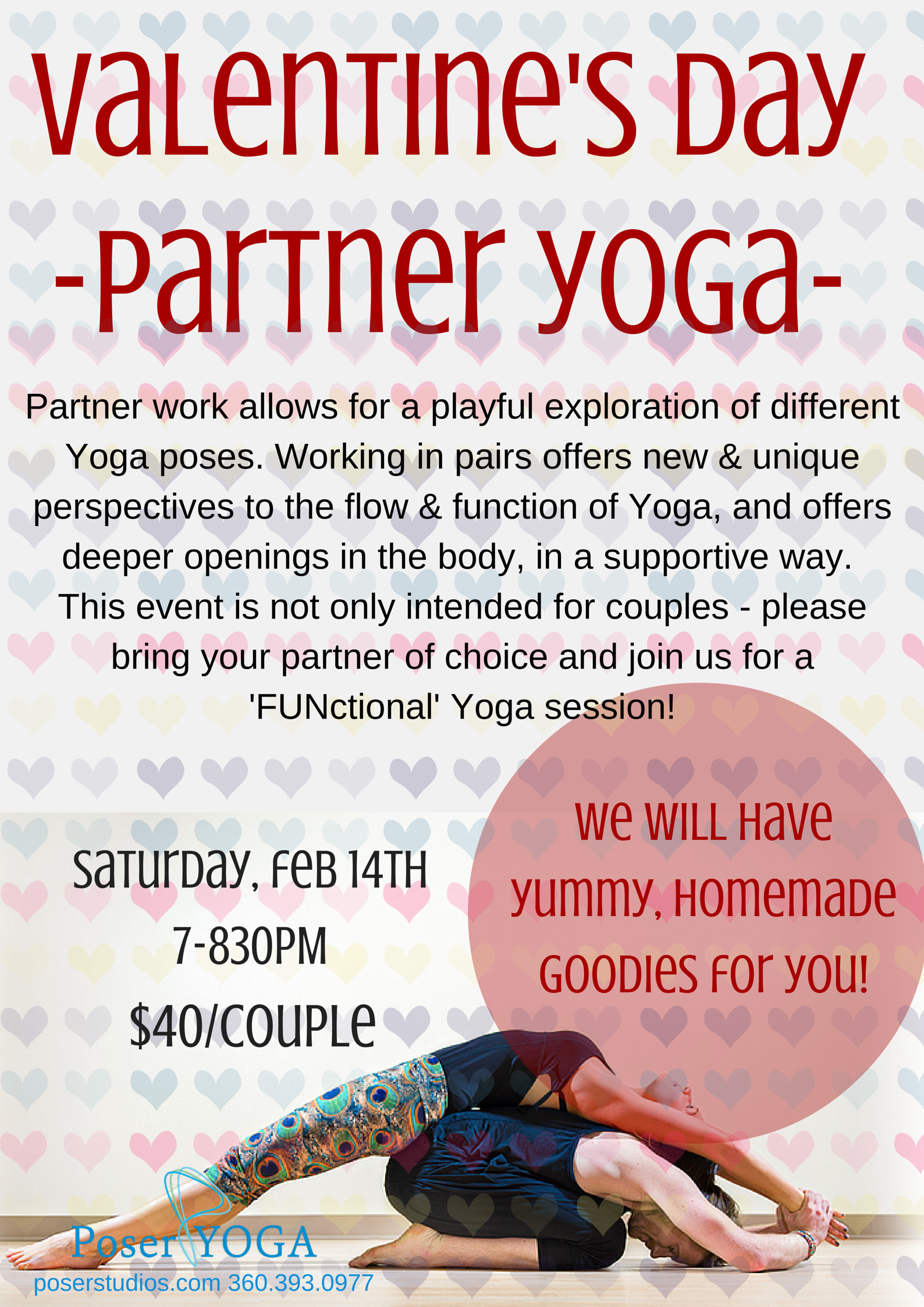 Valentine S Day Partner Yoga Event Poser Yoga Studio